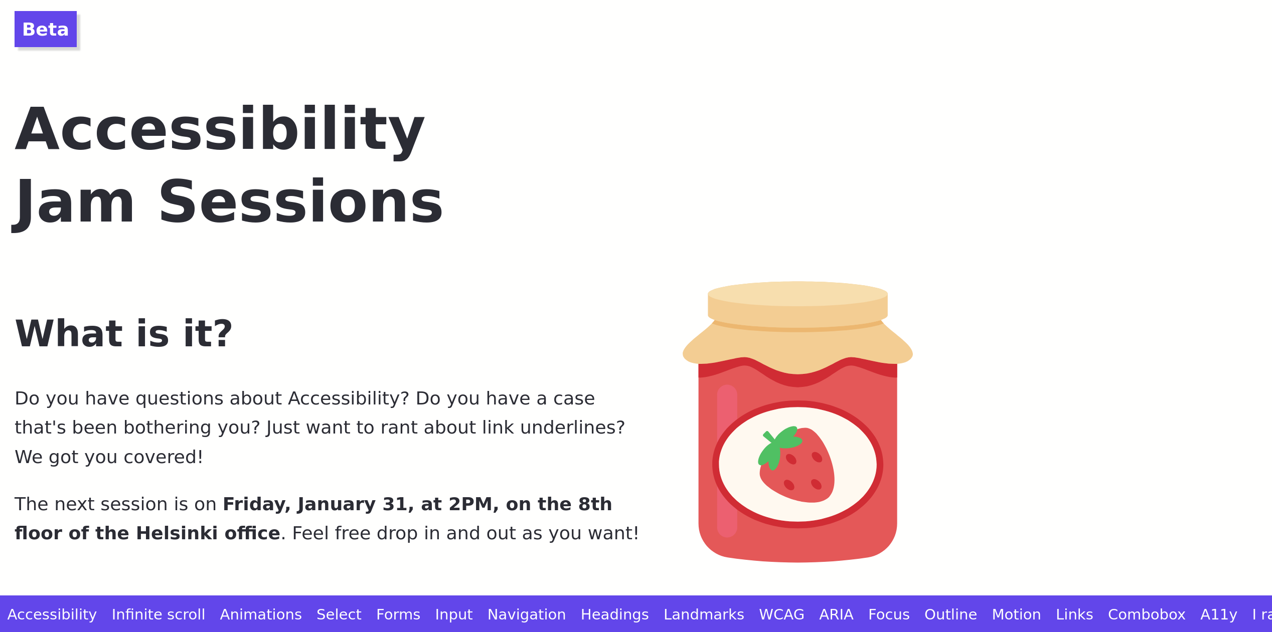 The Accessibility Jam website, complete with an illustration of a jar of jam.