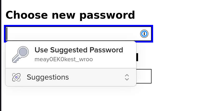 A form to choose a new password, with a prompt to generate a new one.