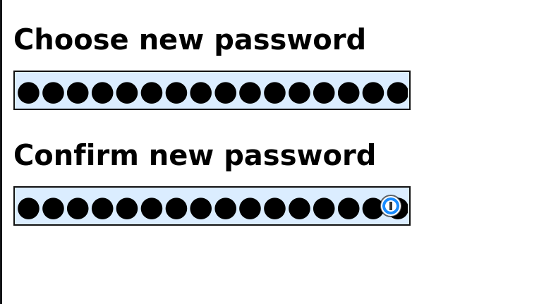 A form to choose a new password, with both the new one and its confirmation filled in.
